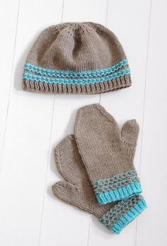Slip stitch adds a nice touch to an easy hat and mitten pattern. And, it's free!