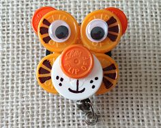 Vial Top penguin Badges Clips | Tiger ID Badge Holder - made from s terile IV vial tops ...