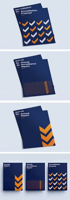 Brochure cover design inspiration, Geometric minimalist layout research, blue and orange | Annual Report, Company Profile, Proposal, Report | Celine Le Duigou, Freelance Graphic & Web Designer