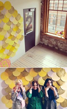 scalloped / circle backdrop (love the yellow and grey!!)