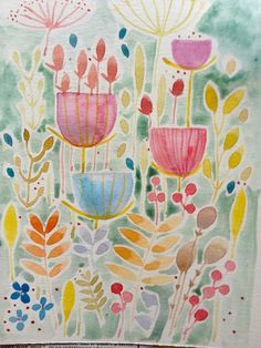 Annabel burton Original Water Colour Painting 'Floral with Cow Parsley'. Signed.
