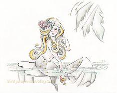 Tropical mermaid print greyscale art print mermaid decor   Etsy Painting Prints, Watercolor Paintings, Art Prints, Mermaid Artwork, Tropical Birds, Muted Colors, Fine Art Paper, Art Girl, Digital Art
