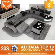 SUMENG 2016 NUEVO Diseño U sofá de tela forma con luz LED
