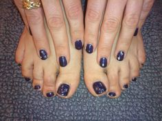 Bio sculpture gel, Midnight blue 2012, with silver stars and gems.