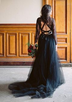 This black lace wedding dress is from bridal marketplace She Wore Flowers. One of many affordable wedding dresses, this low back lace wedding dress is the perfect vintage style wedding gown. Goth Wedding Dresses, Black Wedding Gowns, Sheer Wedding Dress, Elegant Wedding Dress, Tulle Wedding, Bridesmaid Dresses, Wedding Cake, Colored Wedding Dresses, Prom Gowns
