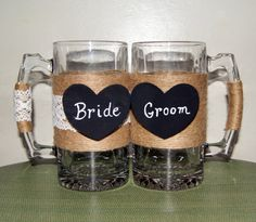 Medieval Wedding Toasting Beer Mugs / by CarolesWeddingWhimsy, Rustic Beer Mugs for Bride and Groom, Country Wedding Toasting Mugs can be found here https://www.etsy.com/listing/472270151/medieval-wedding-toasting-beer-mugs