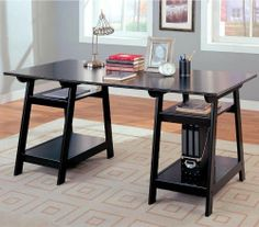 """Coaster Trestle Style Office Desk Table, Black Wood Finish by Coaster Home Furnishings. $350.00. Classic molded edge. Height (bottom to top): 29"""" H. Width (side to side): 64"""" W. Pedestal Drawer Options: Open Shelves. Depth (front to back): 30"""" D. Trestle Style Black Finish Wood Office Desk Table. This is a brand new trestle style office desk in a black finish, features large working area and four open storage shelves below. Item is designed for convenient and useful in..."""