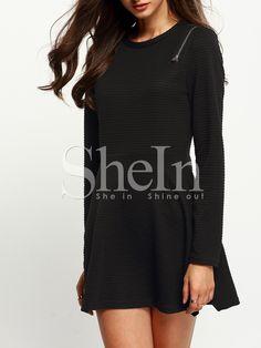 Vestido cuello redondo cremallera-(Sheinside)