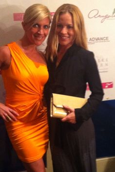 Maria Bello carries the Jill Milan Chelsea Clutch at a party held at the house of Gail and Reed Slogoff to benefit her charity, We Advance http://weadvance.org/. Maria is standing with celebrity stylist, Jen Abrams.