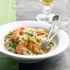 This shrimp dinner is fused with delicious flavors of soy sauce, green onion, ginger, and mango chutney for a well-rounded dish cooked all in one pan.