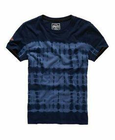 Superdry Orange Label Indigo T-shirt Navy My T Shirt, Tee Shirts, Moda Casual, Stripes Fashion, How To Dye Fabric, Printed Tees, Mens Tees, Shirt Style, Indigo