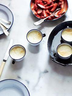 fattaincasa. vanilla bean lavender panna cotta with macerated strawberries.