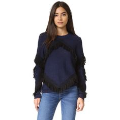 Tanya Taylor Fringe Cha Cha Sweater (25,415 INR) ❤ liked on Polyvore featuring tops, sweaters, slouchy tops, fringe tops, fringe sweaters, alpaca wool sweater and long sleeve fringe top
