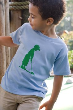 Perfect Putter Short Sleeved Nostalgic Graphic Tee in Sky Blue with Grass Green Free Shipping. $24.00, via Etsy.