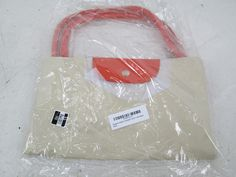 Designer Inspired Overnight Lanus Foldable Tote, Khaki w/ Orange, $55 Value!