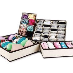 MIU COLOR Drawer Dividers Closet Organizers Bra Underwear Storage Boxes 4 Set