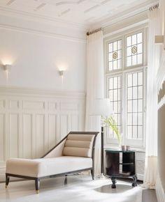 Elegant whites, architectural details,