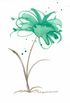 Original watercolor painting of an abstract, splashy green flower by Karen Faulkner