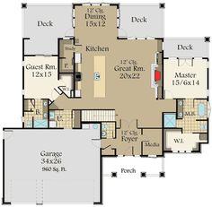 4 Bed Prairie Ranch Home with Walkout Basement - floor plan - Main Level Basement House Plans, Basement Windows, Walkout Basement, Basement Bedrooms, Basement Ideas, Architectural Design House Plans, Architecture Design, Barn Door In House, Ivy House
