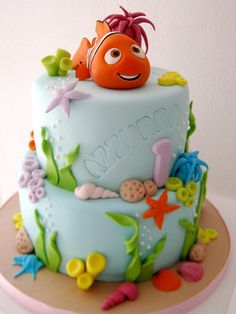 Nemo Cake — First Birthday Cakes Fancy Cakes, Cute Cakes, Fondant Cakes, Cupcake Cakes, Masha Cake, Finding Nemo Cake, Sea Cakes, Character Cakes, Disney Cakes