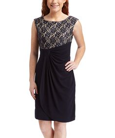 Look at this #zulilyfind! Shelby & Palmer Navy & Nude Lace Ruched Sleeveless Dress by Shelby & Palmer #zulilyfinds