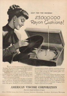 1947 Phonograph Turntable/Record Player~American Viscose Corp Flocking Rayon Ad