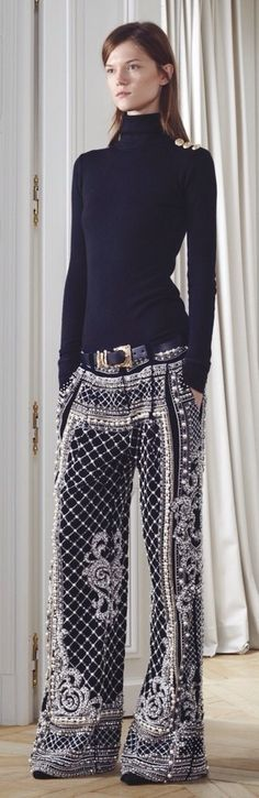 Balmain Fall - love this, but she needs to pull the pants up!!