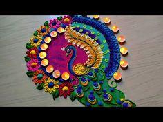 Peacock rangoli designs 2020/satisfying sand art video - YouTube