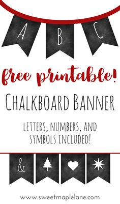 Free printable chalkboard banner. Letters, numbers, and symbols included!