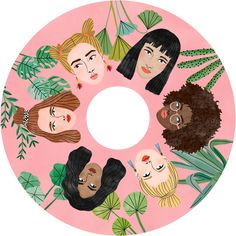 Round wheel decoration featuring the faces of six diverse women on a pink background surrounded by botanicals