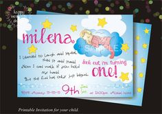 Printable Invitation for First Birthday, Birthday Invitations, Party Invitations, Girl Invitations