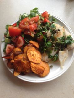 Brown butter and caper fish with green salad and kumara chips - My Petite Kitchen