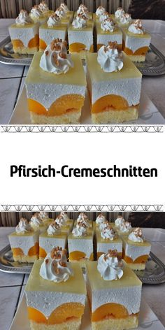 Pfirsich-Cremeschnitten I like baking cream cake with fruits. The reason is of course that we love such cakes in our family. I baked an apricot cake last week, but I did not have time to take pictures Pastry Recipes, Cookie Recipes, Baking Recipes, Apricot Cake, No Bake Cake, No Bake Cookies, Breakfast Pictures, Baking Quotes, Breakfast Photography