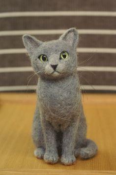 Needle felt cat