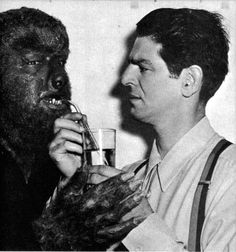 The Wolf Man (Lon Chaney Jr) getting a drink