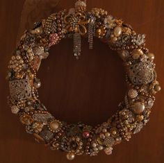 Brian's vintage jewelry wreath. Beautiful!!