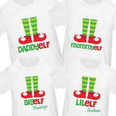 Elf Family Christmas Shirts Set of 4 - Daddy Elf, Mommy Elf, Big Elf, Lil Elf Xmas Shirts, Vinyl Shirts, Family Shirts, Christmas Shirts, Cute Shirts, Holiday Pictures, Christmas Photos, Family Christmas, Christmas Time