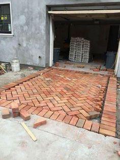 Herringbone Brick Driveway - via Vignette Design: Brick House Brick Driveway, Brick Paving, Driveway Landscaping, Concrete Patio, Concrete Bricks, Concrete Driveways, Landscaping Ideas, Diy Driveway, Walkways