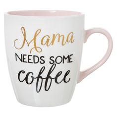 "Clay Art Jumbo Mug 27oz Porcelain - ""Mama needs some coffee"", White"