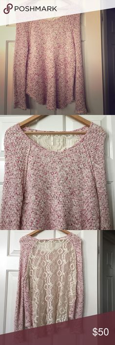 Free People Pink Boho Sweater Size XS Gently Preloved Free People Sweaters