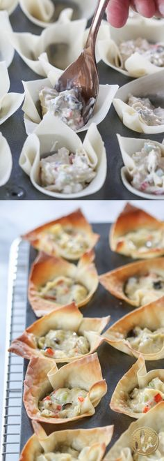 Artichoke Wonton Wraps - A favorite Christmas holiday appetizers Easy To Make Appetizers, No Cook Appetizers, Appetizer Dishes, Holiday Appetizers, Appetizer Recipes, Delicious Appetizers, Yummy Food, Wonton Appetizers, Pastas Recipes