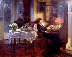 L'heure tranquille ~ Albert Chevallier Tayler (British, 1862-1925)