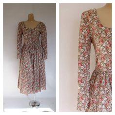Vintage 80s Floral Dress / 1980s Midi Dress by WindingRoadVintage