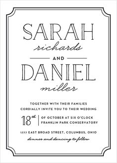 """The charming simplicity of the Type Frame <a class=""""crosslink"""" href=""""https://www.basicinvite.com/wedding/wedding-invitations.html"""" target=""""_self"""" alt=""""Custom Wedding Invitations"""" title=""""Custom Wedding Invitations"""">Wedding Invitations</a> are what makes these typographic cards a fun yet classy choice for your event. This card marries sophistication and whimsy with the use of contemporary fonts encased by an elegant frame and a stylized leaf pattern on the back. Make it your own with colors…"""