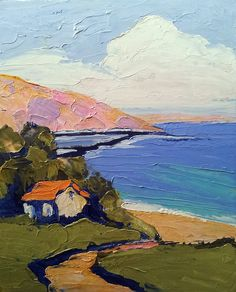 Impressionist California Seascape. loving lynne french! This kinda reminds me of my dream home.  High on the mountain looking down my rolling hills at my livestock and barn, dancefloor and then the water.