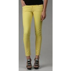 BLANK Yellow Skinny Jeans [Blank] Yellow Skinny Jeans - style: 6S7162 - size: 27 - inseam: 27.5 inches - 98% cotton / 2% spandex - bright yellow (slight ombre effect from manufacturer - darker at the waist - photos make it more noticeable than in person) - leg opening: approximately 10.5 inches - zipper fly - Great condition  Sorry for the wrinkles, just needs ironed. Great skinny jeans for a great price. Please, no trades!! Blank Denim Jeans Skinny