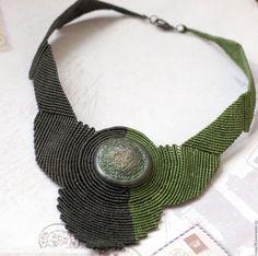 """Купить Колье """"Verde argento"""" макраме - тёмно-зелёный, макраме украшения, макраме колье, микромакраме"""