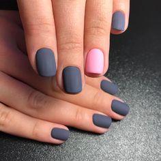 32 Gorgeous Looks for Matte Short Nails; matte nails for fall;easy designs for short nails. Nail Color Combos, Colour Combo, Gray Color, Sns Nails Colors, Grey Nail Designs, Metallic Nails, Matte Gray Nails, Matte Red, Nail Polish