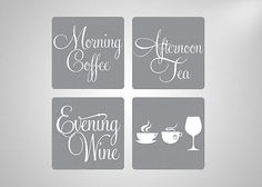 Morning coffee afternoon tea #evening wine coffee mug #square #coasters set of 4,  View more on the LINK: 	http://www.zeppy.io/product/gb/2/151636759562/