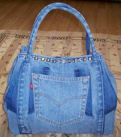 Diamanté stud up-cycled Levi's jeans denim bag/purse. Structured shape.